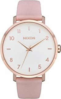 Nixon Arrow Casual Women's Watch (38mm. Leather Band) Rose Gold/Light Pink