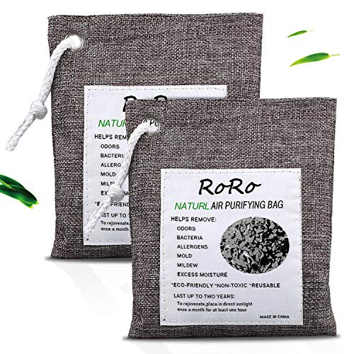 rongrong 2Pack Natural Bamboo Activated Charcoal Air Purifying Bags, Shoe Deodorizer and Odor Absorber for Closets, Wardrobe and Drawers, Car Freshener Bags (200g*2)