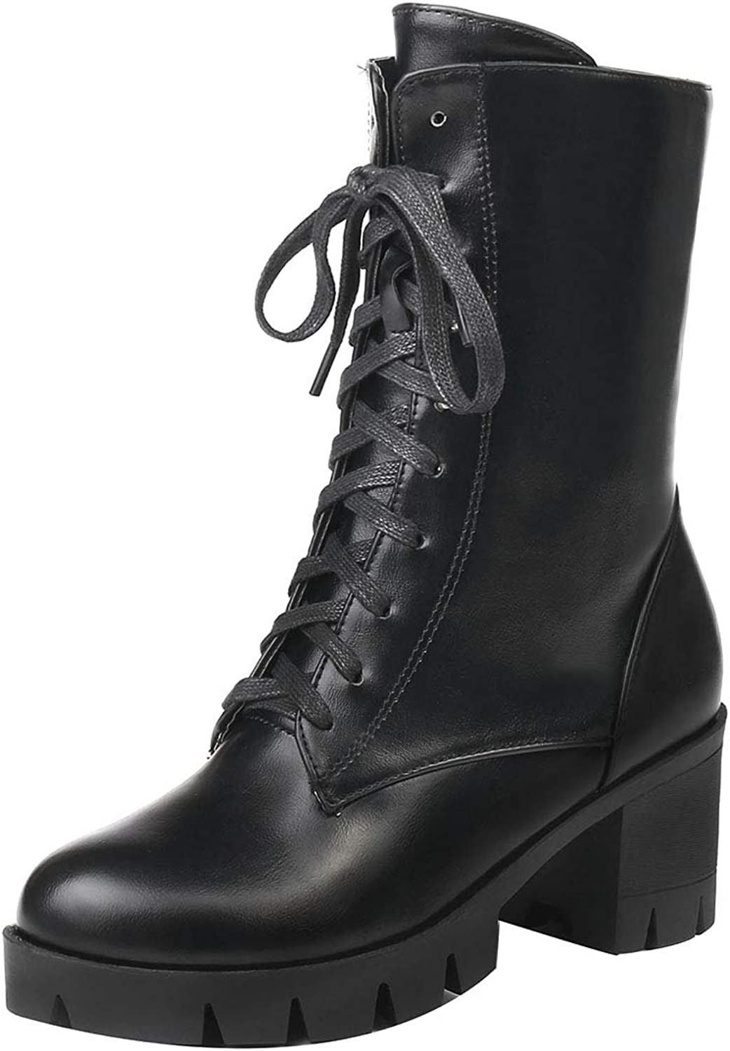 Jushee Womens Juhang 6 cm mid-Heel Ankle lace-up Patent-Leather Boots