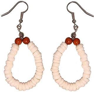 Hawaiian Jewelry Puka Shell Hoop Earrings with Koa Wood Beads