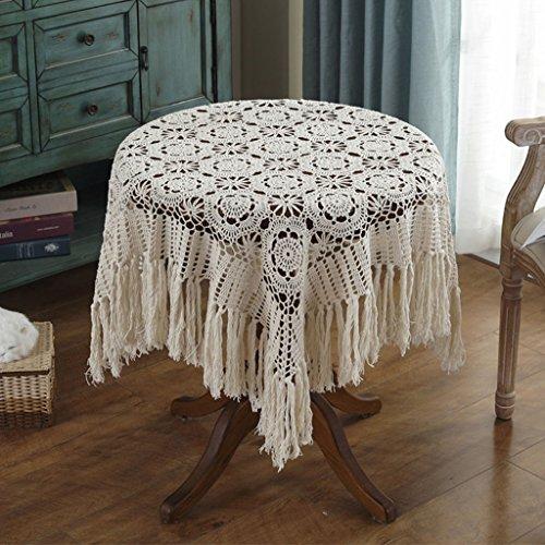 Manteles Crochet Hecho a Mano Ganchillo de la Vendimia (Square-120 * 120CM) (Color : Beige, Tamaño : 150 * 150cm)
