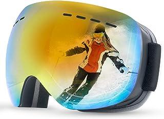 Anyuke - Gafas de esquí para hombre y mujer, gafas de esquí sin marco, con doble objetivo, protección UV, antivaho, compatible con casco, gafas de nieve, espejadas