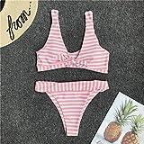 PJR diseño mujeres Cruz correa rayas bikini conjunto dos piezas traje de baño femenino niñas traje de baño encantador bowknot traje de baño Rosa rosa S