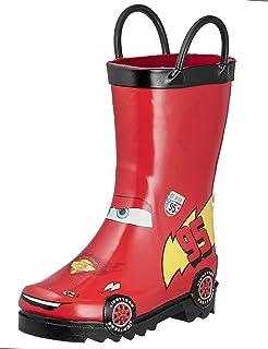 Disney Cars Kids Boys Lightening McQueen Character Printed Waterproof Easy-On Rubber Rain Boots (Toddler/Little Kids)