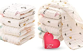 KOROTUS Muslin Baby Burp Cloths Washcloths Face Towels 10-Pack Extra Large 10 X 20 inches 6 Layers Super Absorbent Premium...