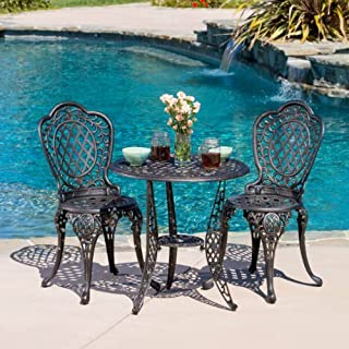 Christopher Knight Home 239281 Modena 3pcs Outdoor Cast Aluminum Bistro Set, Bronze