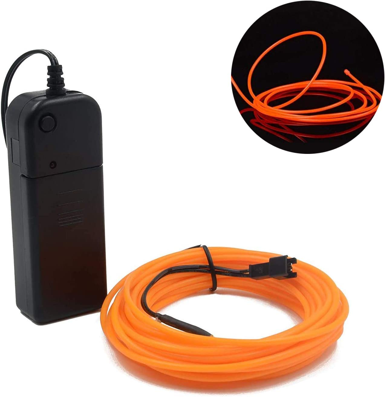 Orange EL Wire Neon Glowing Strobing Electroluminescent Wire Battery Operated Super Bright Light 3M/9.84Feet EL Wire for Cosplay Dress Festival Parties Halloween DIY Decoration (Orange)