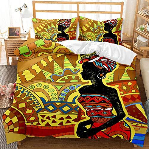 QXbecky Ropa de Cama Funda de Almohada con Funda de edredón de niña Negra Africana de Estilo étnico Tribal 2~3 Piezas de Microfibra Suave Transpirable 230x260cm