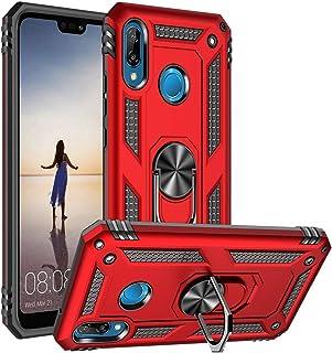 Asuwish Huawei P20 Lite ケース リング スタンド 付き 耐衝撃 ファーウェイP20 はうぇいP20 ライト 携带 カバー ふぁーうえい スマホ [ HWV32 / HWU34 / Nova 3e ] 対応 レッド 赤