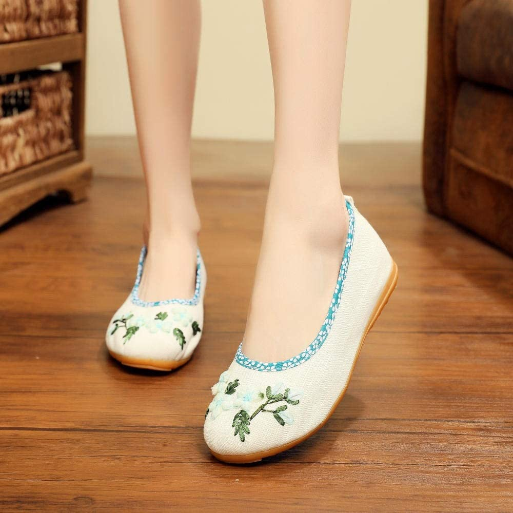 YYYSHOPP Embroidered Shoes Ethnic Style Embroidered Tea Artist Shoes Cheongsam Chinese Costume Hanfu Guzheng Performance Dance Shoes Mary Janes (Color : Off-White, Size : 5.5)