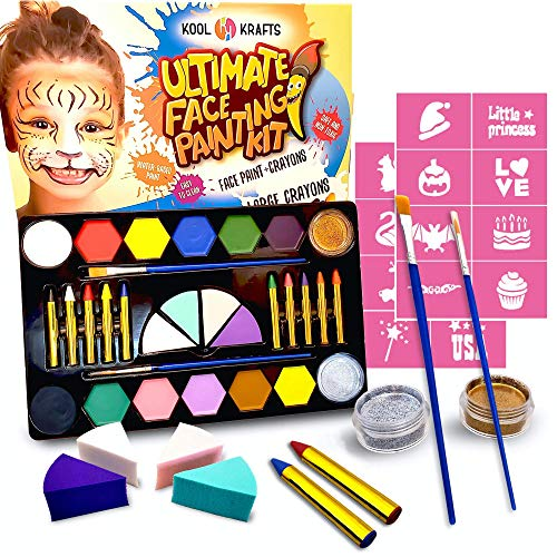 Kool Krafts Ultimate Face Painting Kit for Kids - 12 Large Water Based Paints + 10 Face Paint Crayons, 2 Glitters, 2 Brushes,16 stencils - halloween Makeup, Safe for Sensitive Skin, Jumbo Kit 46 Items