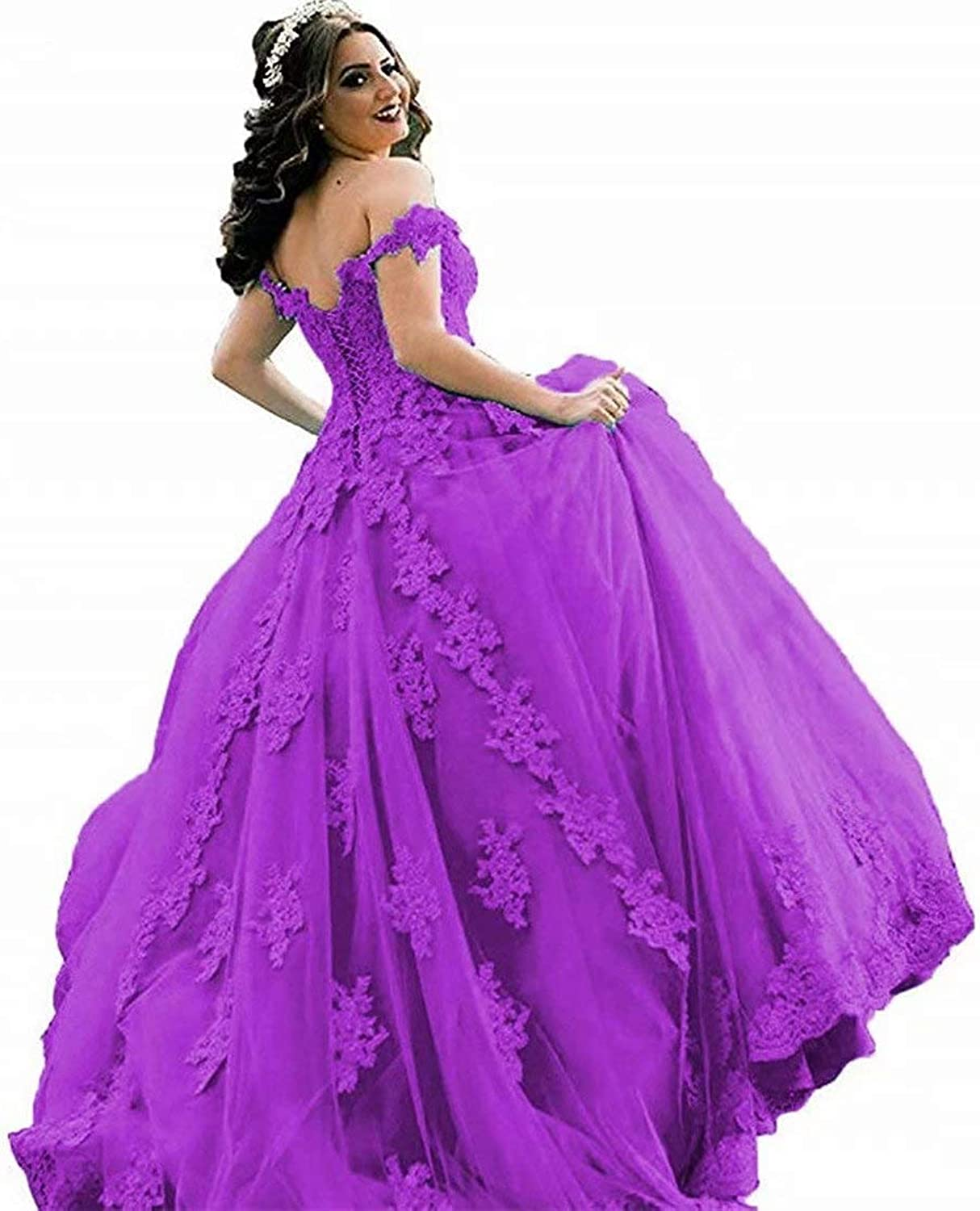 EEFZL Women's Beaded Lace Appliques Prom Evening Dresses Off Shoulder Evening Ball Gowns Wedding Quinceanera Dresses