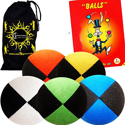 Flames 'N Games 5x Pro Thud Juggling Balls - Quality SUEDE Feel Juggling Ball...
