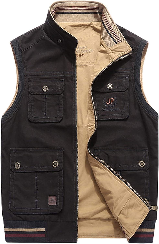 chouyatou Men's Active Band Collar Full Zip Reversible Multi-Pocket Sportswear Work Vest Jacket