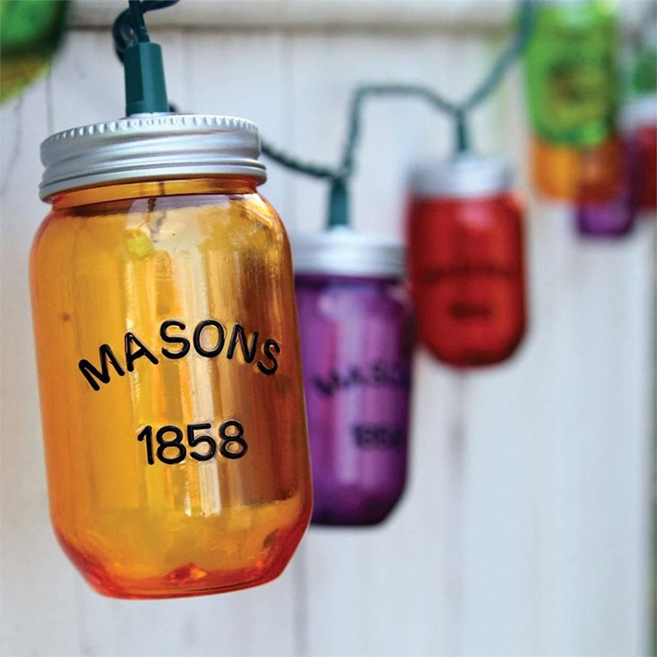 10 Colorful Mason Jar Party String Lights Indoor/Outdoor Decor-8 Ft