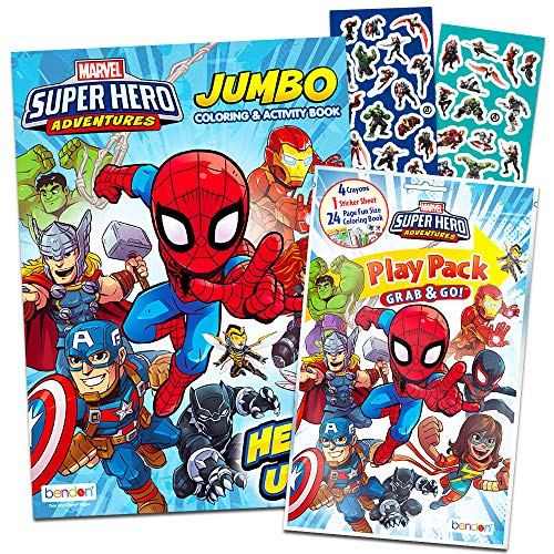 Super Hero Adventures Coloring Play Set - Jumbo Coloring and Activity Book, Play Pack, Crayons and Super Hero Adventures Stickers (Super Hero Adventures Party Supplies)