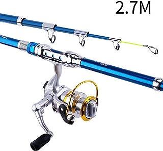 Tricherry Fishing Rod Reel Combos Carbon Fiber Telescopic Sea Saltwater Freshwater Kit
