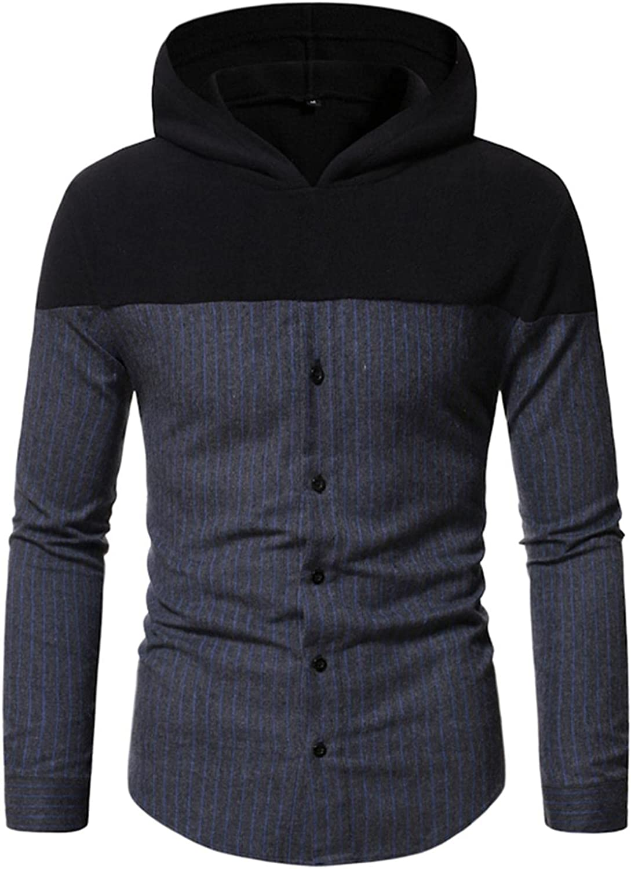 Huangse Men's Hooded Sweatshirt Novelty Button Down Shirt Hoodies Patchwork Plaid Shirt Jacket Striped Shirt Coat
