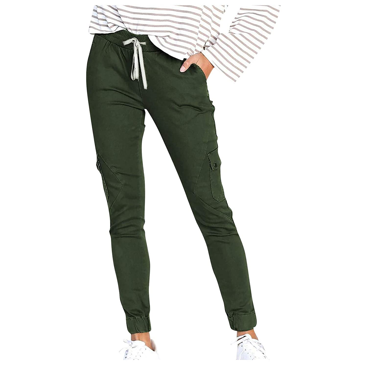 SANYEE Womens Casual High Waist Pencil Pants with Bow-Knot Pockets for Work Paper Bag Waist Pants