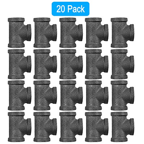 GOOVI 1/2 Inch Tee Pipe Fitting, Black Pipe Threaded Pipe Nipples - Cast Pipe Fittings - Industrial Piping Tees for Plumbing Pipe Shelf and DIY Steampunk Vintage Pipe Furniture Projec, 20 Pack.