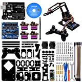 LAFVIN 4DOF Acrylic Robot Mechanical Arm Claw Kit Compatible with Arduino IDE DIY Robot with CD Tutorial