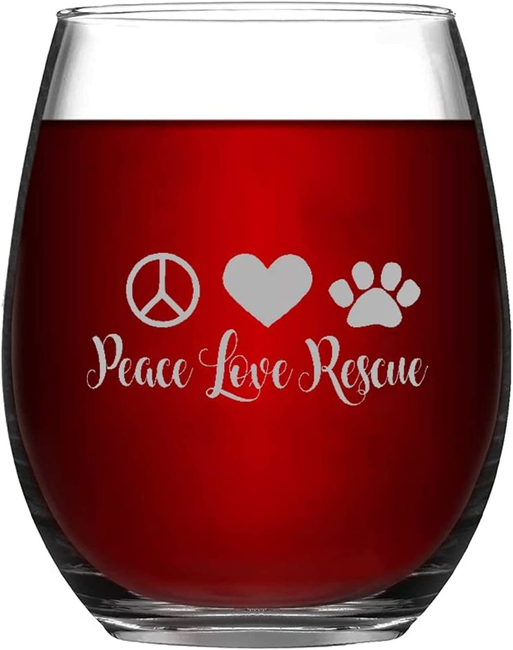 Sales of SALE items from new works Funny Directly managed store Stemless Wine Glass Peace Love Cup 11oz Pet Do Rescue