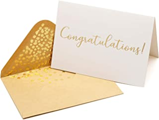 50 Pack Congratulations Card – Elegant Greeting Cards With ''Congratulations'' Embossed In Gold Foil Letters – For Engagement, Graduation, Wedding - 52 Kraft Envelopes Included - 4