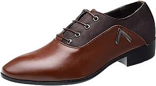 Wealsex Zapatos Oxford Hombre Boda Negocios Calzado Vestir Cordones Derby Zapatos de Cuero para Hombres