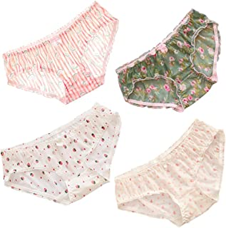 Womens Floral Breathable Panties Comfort Mesh Underwear Lingerie Panty for Schoolgirl Pink