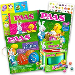 Paas Easter Egg Decorating Kit Variety Pack -- Pack of 4 Kits, No Duplicates (Decorating Kits Will Vary). These Easter egg decorating kits includesdye tablets, adhesive shapes, egg stands, egg dippers, drying trays and more. These assorted Easter egg...
