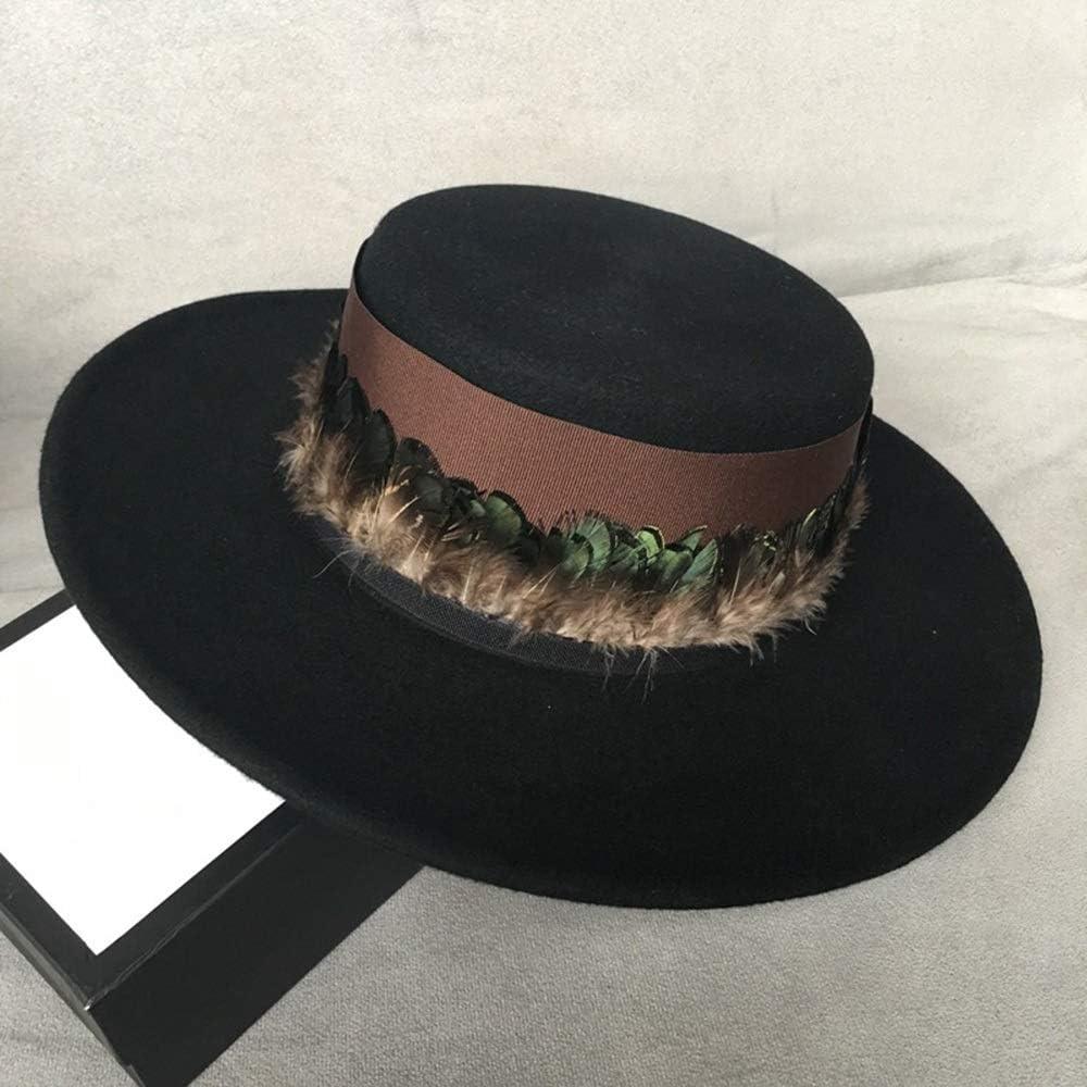 HHF Caps & Hats 100% Wool Men Women Fedora Hat, Feather Wide Brim Black Top Hat, Pork Pie Hat Elegant Fascinator Hat (Color : Black, Size : 56-58)