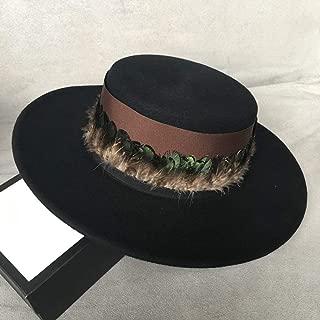 SHENTIANWEI 100% Wool Men Women Fedora Hat with Feather Wide Brim Black Top Hat Pork Pie Hat Elegant Fascinator Hat