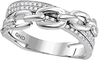Mia Diamonds 10kt White Gold Womens Round Diamond Chain Link Crossover Band Ring (.20cttw) (I2-I3)- Available Sizes From - 5 to 10