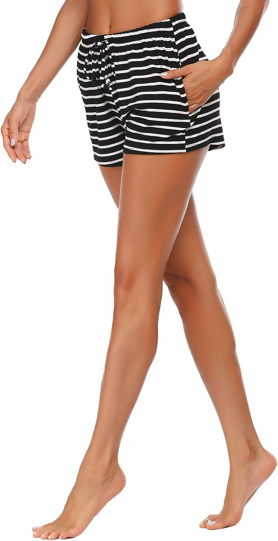 Schlafanzughose Damen Kurz Shorts Schlafhose Kurze Soft Pyjamahose Nachtw/äsche Hosen Yoga Sportshorts f/ür Sport Jogging Gestreift mit Elastischer Taille f/ür Frauen Sommer