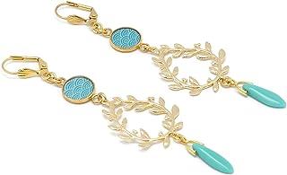 SEIGAIHA orecchini d'oro Giappone turchese o corallo alloro Giappone regali di Natale compleanno gioielli cerimonia di mat...