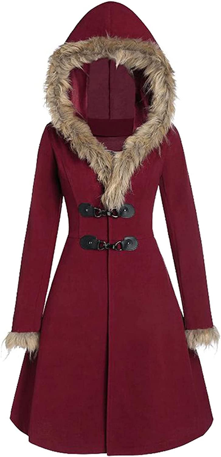 Vintage Womens Steampunk Victorian Swallow Tail Long Trench Coat Jacket Plaid Fur Hoodie Dress Outerwear for Winter