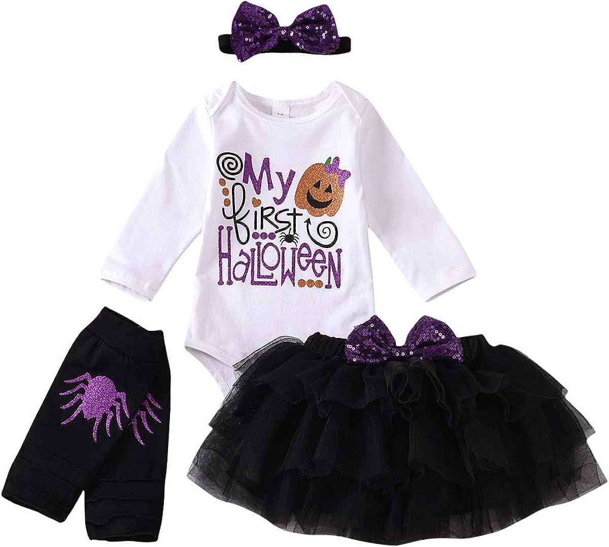 My 1st Halloween Baby Girls Newborn Pumpkin Sequins Romper+ Tutu Skirt+ Leg Warmer + Headband 4Pcs Outfits Set