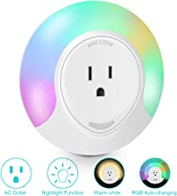 Frebw Extender Wall Light, LED Night Lights with Dusk-to-Dawn Light Sensor, Warm White Colorful Changing Rainbow Lamp Plug in Outlet Charger Light for Bedroom, Living Room, Kitchen, Hallway, Stairs