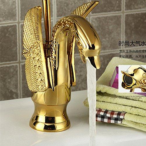 Retro Deluxe envío FaucetingFree Dona Golden Swan Lavabo grifo de fregadero con latón macizo Grifo lavabo oro oro y grifos de cocina