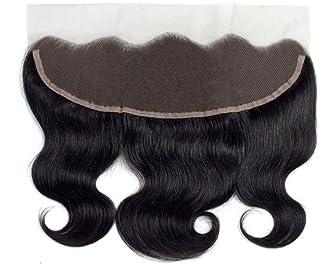 Yrattary ブラジル髪の閉鎖13 * 4レース前頭波人間の髪の毛の自然な黒い色女性合成かつらレースかつらロールプレイングかつら (色 : 黒, サイズ : 18 inch)