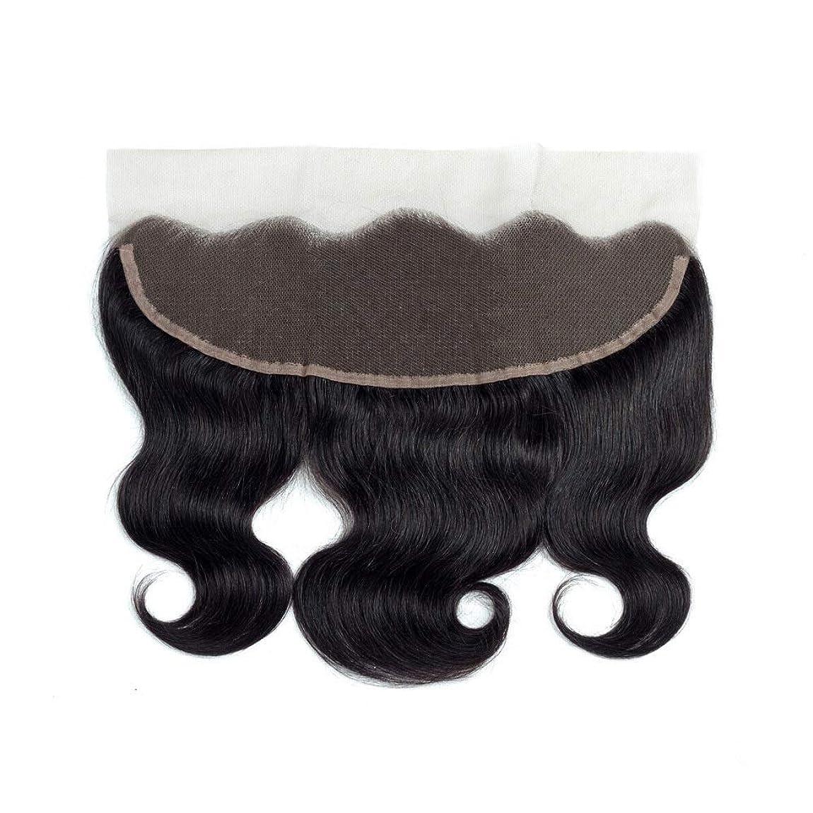 気味の悪いステレオタイプ順応性Yrattary ブラジル髪の閉鎖13 * 4レース前頭波人間の髪の毛の自然な黒い色女性合成かつらレースかつらロールプレイングかつら (色 : 黒, サイズ : 18 inch)