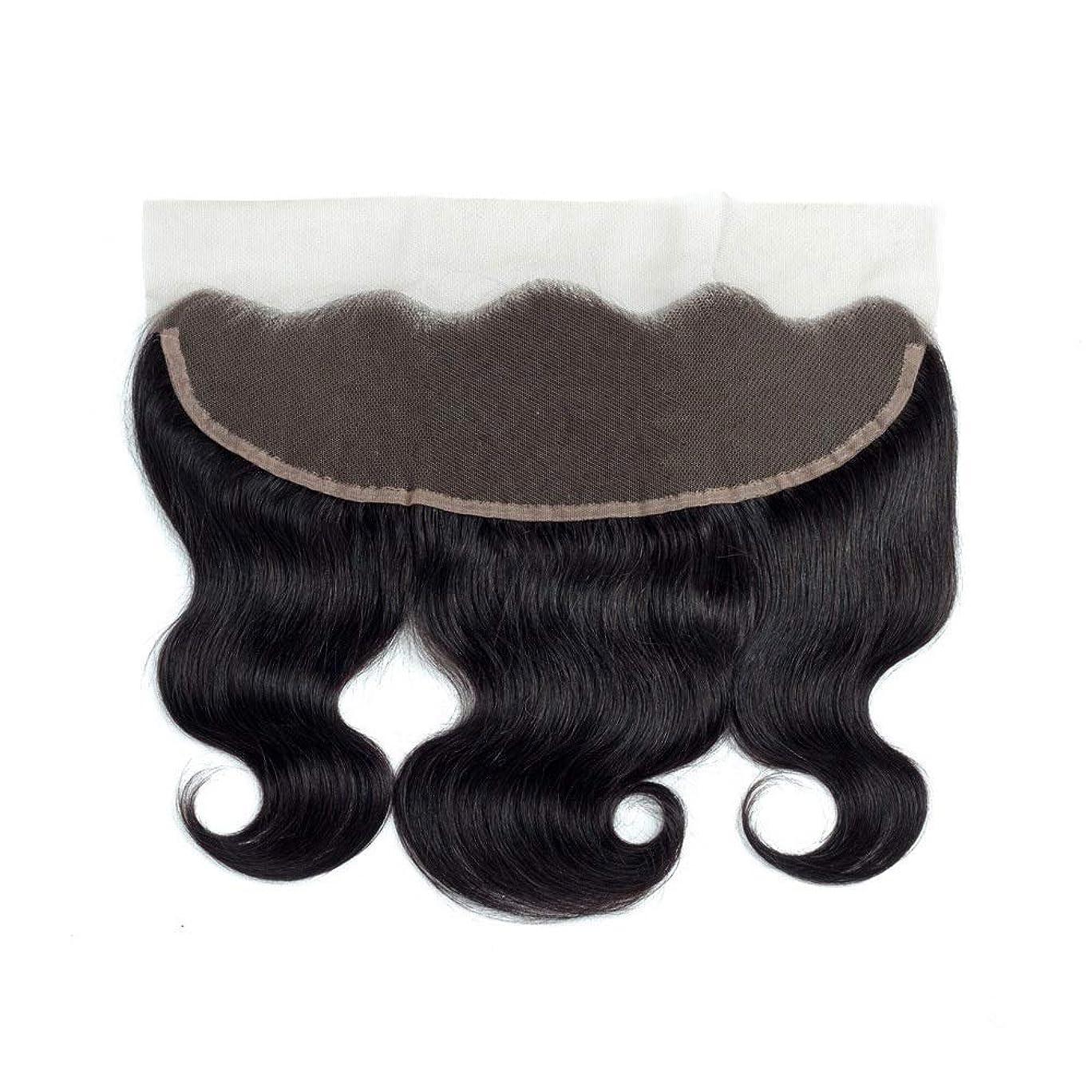 リダクター閉塞りMayalina ブラジル髪の閉鎖13 * 4レース前頭波人間の髪の毛の自然な黒い色女性合成かつらレースかつらロールプレイングかつら (色 : 黒, サイズ : 18 inch)