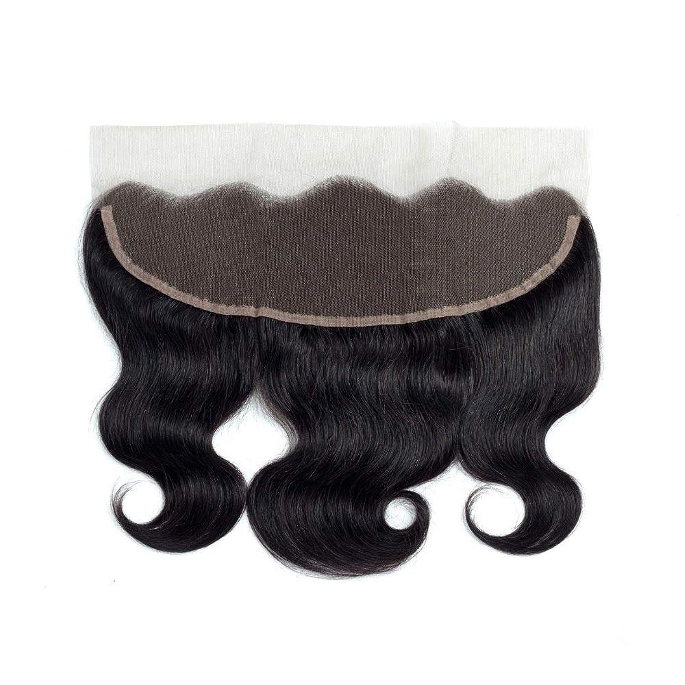 惑星理容師理論的Yrattary ブラジル髪の閉鎖13 * 4レース前頭波人間の髪の毛の自然な黒い色女性合成かつらレースかつらロールプレイングかつら (色 : 黒, サイズ : 18 inch)