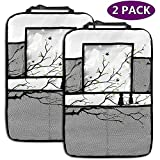 Car Backseat Organizer Black Tree Branch Cat 4 Storage Pockets Universal Fit Travel Accessories for Kid & Toddlers 2 Pack