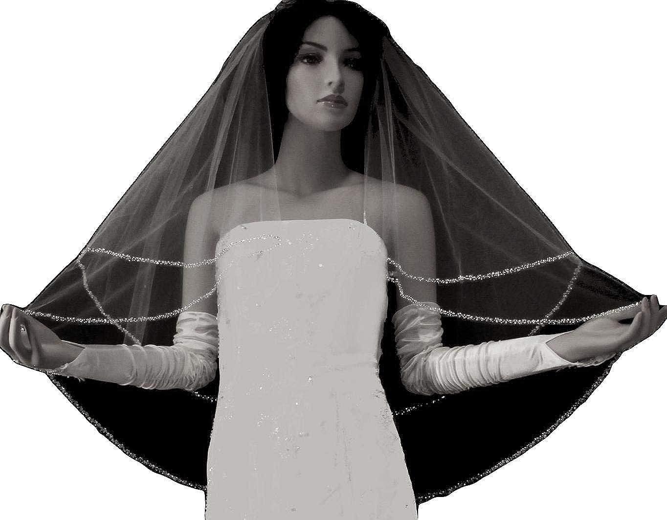 Fenghuavip 2 Tier Court Wedding Veil Crystal Beaded Edge Veil for Bride Free Metal Comb
