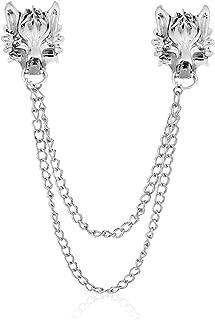 YOOE Punk Wolf Head Long Chain Brooch. Gold Silver Chain Tassel Brooch Pin, Cool Animal Head Collar Coat Pin for Men's Corsage Pin