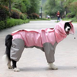 Large Dogs Coat Rainwear Hoodie Waterproof Dog Raincoat Clothes No.20-30 (Pink)