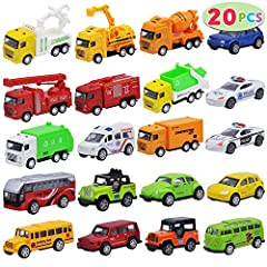 SUPER VALUE PACK. Our Pull-Back Diecast Model Build Car Toy Vehicles Set includes 20 toy cars in total: police cars, fire engine trucks, bulldozers, dump trucks, mountain cars, and other die-cast metal and plastic cars REAL FUNCTION. Our Model Build ...