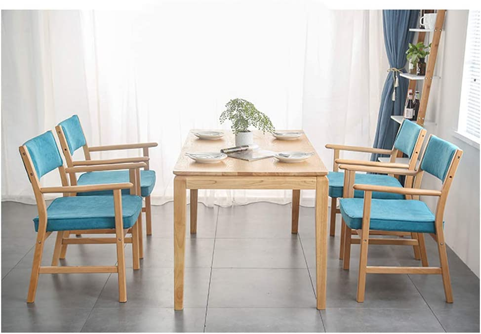 Lxn simplicité Cuisine Moderne Chaise de Salle à Manger Coussin en Tissu avec des Jambes Solides en Bois Massif pour Bureau Hôtels Accueil - avec accoudoirs - 1pcs Blue#2