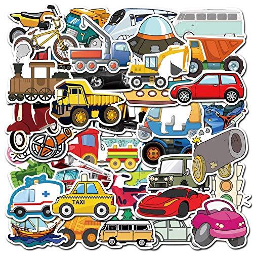 YOUYOU Pegatina de coche de vehículo de ingeniería lindo autobús camión motocicleta pegatinas para niños juguete viaje maleta monopatín portátil